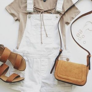 Jeans - American Eagle White distressed shortalls